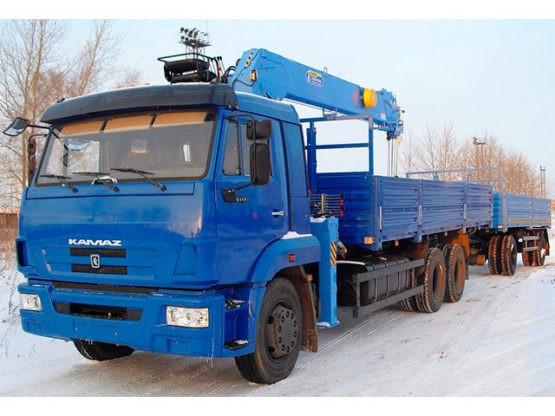 Манипулятор КАМАЗ 20 тонн кран 7 тонн (с прицепом)