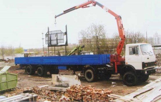 Манипулятор МАЗ 20 тонн шаланда, 13,5 метров, кран 3 тонны