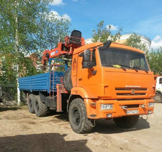 Манипулятор вездеход КАМАЗ борт 10 тонн КМУ 7 тонн